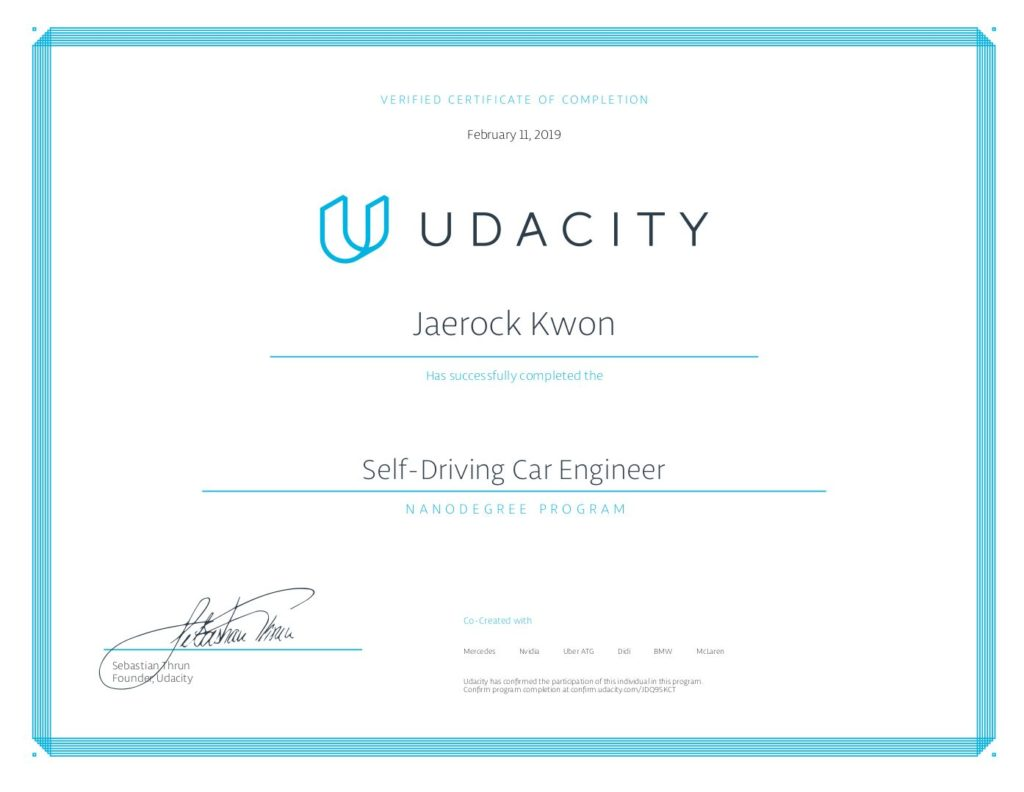 Graduated Self-Driving Car Engineer Program from Udacity  – Mobile